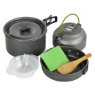 Sunfield Portable Outdoor Camping Picnic Cooking Pot & Pan & Kettle Cookware Set for 3 People