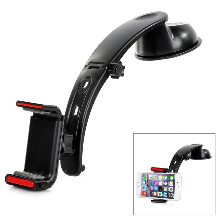Multifunctinonal ABS Car Mount Phone Holder w/ Suction Cup - Black
