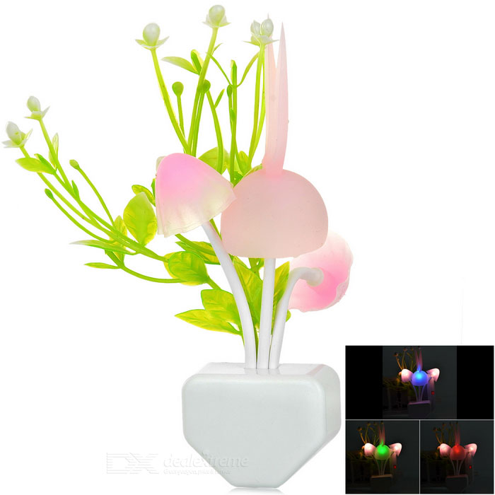 Water Plant Mushroom Style Warm White Light Control LED Night Lamp