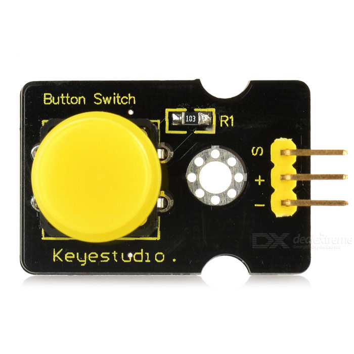 Keyestudio Digital Push Button - Black + YellowSensors<br>Form ColorBlack + YellowModelN/AQuantity1 DX.PCM.Model.AttributeModel.UnitMaterialFR4ApplicationArduino study and applicationWorking Voltage   3.3~5 DX.PCM.Model.AttributeModel.UnitEnglish Manual / SpecYesDownload Link   http://pan.baidu.com/s/1gd1tXS3Packing List1 x Digital Push Button<br>