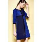 Fashion Crepe de Chine Mid-Sleeve Splice Dress - Blue (M)