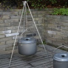 4-Section Campfire Bonfire Hanging Pot Holder Stand Tripod - Silver