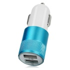 Jtron Universal 5V / 3.1A Dual USB Car Charger Adapter - White + Blue