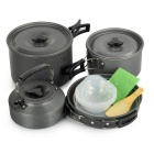 Sunfield 15P501-1 Portable Outdoor Camping Picnic Cooking Pots & Pan & Kettle Set for 4~5 People