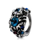 Women's Fashionable Flower Design Alloy + Crystal Studded Ring - Antique Silver (US Size: 8)