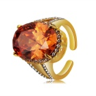 Stylish Double-layer Crystal Zircon Inlaid Ring - Golden (US Size 8)