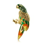 Lovely Parrot Crystal Brooch - Golden