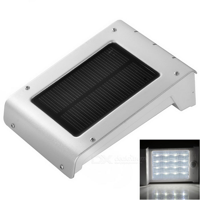 0.66W 16-LED Solar Sensor Wall Lamp White 6000K 120lm - Silver Grey