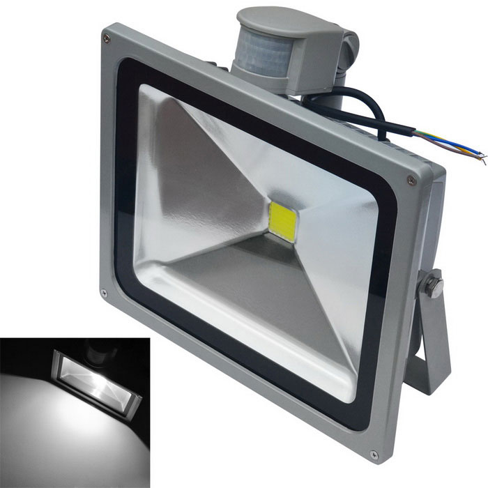 JIAWEN impermeable 50W LED cuerpo humano IR sensor reflector 6500K - gris