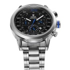 WEIDE WH-3311 Men's Waterproof Quartz Analog Wristwatch - Black + Blue