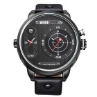 WEIDE WH-3409 Men's Leather Strap Two Time Zones Display Quartz Analog Sports Wrist Watch - Black