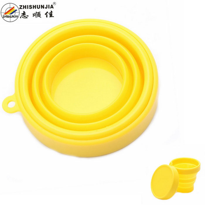 ZHISHUNJIA Outdoor Portable Silicone Telescopic Style Cup - Yellow (200ml)
