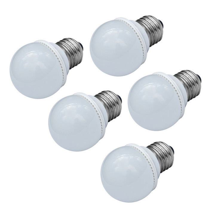 JIAWEN E27 3W LED Ball Bulb White Light 240lm 9-SMD - White (5PCS)