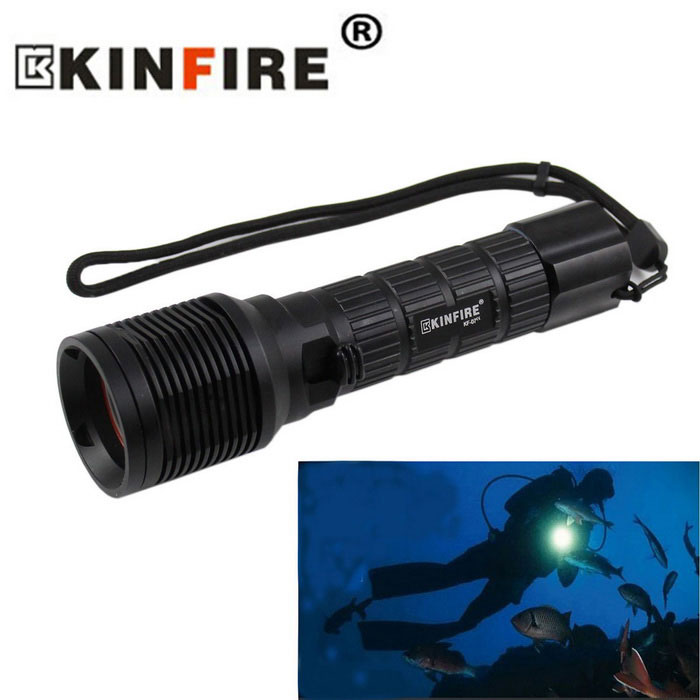 KINFIRE KF-07 XM-L2 LED 900lm Diving Flashlight - BlackDiving Flashlights<br>Form  ColorBlackQuantity1 DX.PCM.Model.AttributeModel.UnitMaterialAluminum alloyEmitter BrandOthersLED TypeXM-L2Emitter BINU2Color BINCold WhiteNumber of Emitters1Theoretical Lumens1100 DX.PCM.Model.AttributeModel.UnitActual Lumens900 DX.PCM.Model.AttributeModel.UnitPower Supply1x 26650 Battery (not included)Working Voltage   3.7~4.2 DX.PCM.Model.AttributeModel.UnitCurrent1980~2183 DX.PCM.Model.AttributeModel.UnitRuntime3~4 DX.PCM.Model.AttributeModel.UnitNumber of ModesOthers,Push switch  LOW~HIMode MemoryNoSwitch TypeForward clickySwitch LocationHeadLens MaterialOptical lenReflectorAluminum SmoothWorking Depth Underwater180 DX.PCM.Model.AttributeModel.UnitStrap/ClipStrap includedPacking List1 x Diving flashlight (Strap: 25cm)<br>