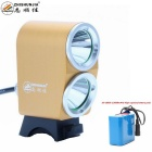 ZHISHUNJIA K2G XM-L T6 2-LED 1800lm 4-Mode White Bike Light Headlight - Golden (10 x 18650)