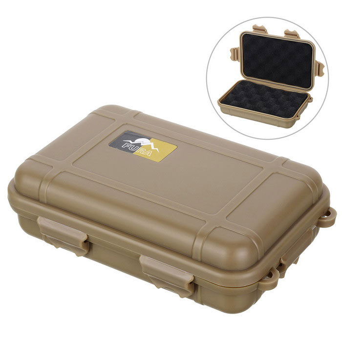FURA Survival Anti-Shock Storage Sealed Case Box Container - Tan (L)Form  ColorTanQuantity1 DX.PCM.Model.AttributeModel.UnitMaterialNylonBest UseFamily &amp; car camping,Mountaineering,Travel,CyclingTypeOthers,Water resistant casePacking List1 x Water resistant case<br>