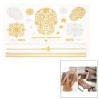 Stylish Skull Pattern Shiny Water Resistant Temporary Metallic Tattoos Stickers - Golden + Silver