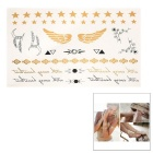 Stylish Shiny Flash Water Resistant Temporary Metallic Tattoos Stickers - Golden + Black