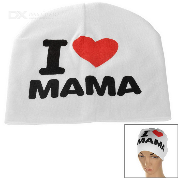 I Love MAMA Knitted Warm Cotton Hat for Toddler/ Baby / Kids - White