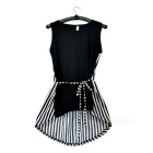 Frauen Stilvolle Sleeveless Cotton + Chiffon Top-Hemd-Bluse - Black + White (Free Size)
