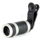 Universal 8X Wide Angle Zoom Telescope Lens w/ Clip for Cellphone - Black + Silver