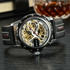 MCE Skeleton Self-Winding Mechanical Analog Watch - Black + Golden