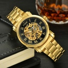 MCE Skeleton Auto-Mechanical Analog Wrist Watch - Gold + Black