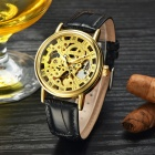 MCE Skeleton Leather Band Automatic Mechanical Analog Wrist Watch - Golden + Black