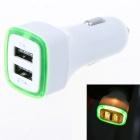 Luminous 3.1A 2-Port USB Quick Car Charger Adapter - Green + White