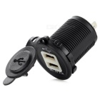 DIY Water Resistant 12~24V 3.1A Dual USB Car Charger Adapter w/ Blue Light - Black + White