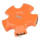 SSK SHU024 USB 2.0 4-Port Hi-Speed USB Hub for Portable Hard Disk Drive - Orange