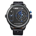 WEIDE WH-3409 Men's Genuine Leather Strap Two Time Zones Display Quartz Sports Watch - Black + Blue