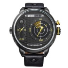 WEIDE WH-3409 Men's Genuine Leather Strap Two Time Zones Display Quartz Sport Watch - Black + Yellow