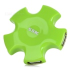 SSK SHU024 USB 2.0 4-Port Hi-Speed USB Hub for Portable Hard Disk Drive - Grass Green