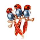 Three Little Parrots Imitation Pearls Crystal Brooch - Rose Gold