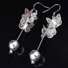 925 Butterfly Bead Style Silver-plated Earrings - Silver (Pair)