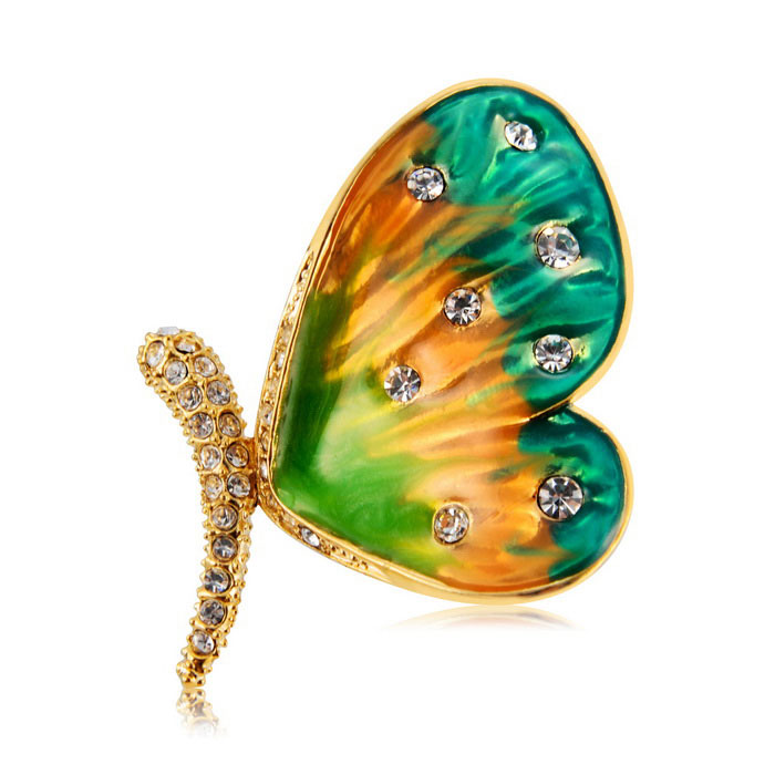 Xinguang Butterfly Painting Crystal + Alloy Brooch - Golden