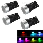 T10 1W 12V LED Signal Lights Colorful 25lm - Black + Silver + Multicolor (4PCS)
