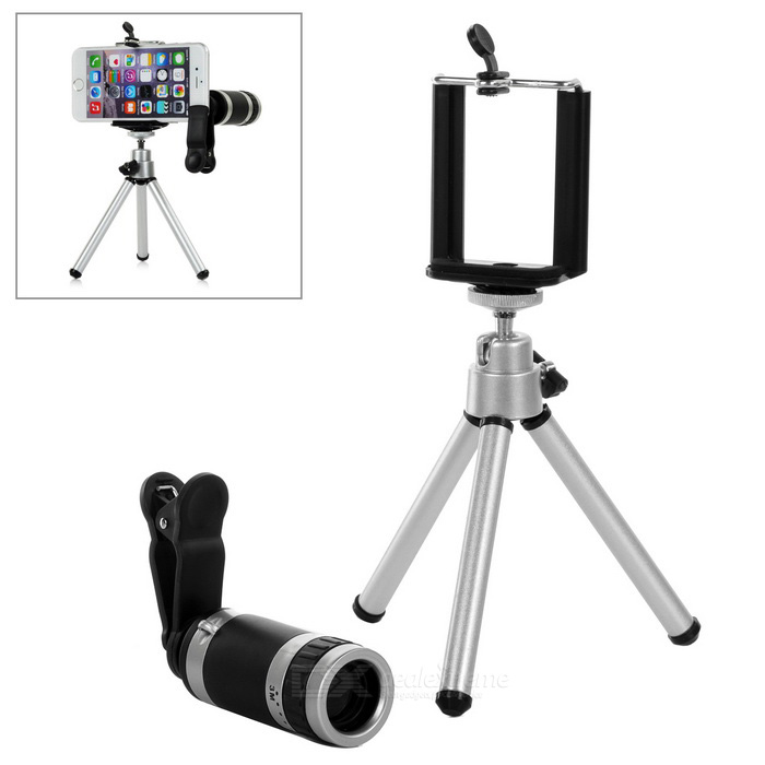 Universal Tripod + 8X Telescope Zoom Lens w/ Holder - Black + SilverLens &amp; Microscopes<br>Form ColorBlack + SilverQuantity1 DX.PCM.Model.AttributeModel.UnitMaterialAluminum alloy + PlasticShade Of ColorBlackCompatible ModelsUniversalLens EffectsWide angle,TelescopeMagnification8XOther FeaturesThe max height of Tripod: 12.5~17.8cm;<br>Cellphone holder width: 5.5~8.5cm.Packing List1 x Zoom lens1 x Clip2 x Covers1 x Tripod1 x Cleaning cloth1 x Cellphone holder<br>
