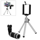 Universal Tripod + 8X Telescope Zoom Lens w/ Cellphone Holder for Cellphone - Black + Silver