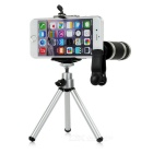 Universal Tripod + 8X Telescope Zoom Lens w/ Holder - Black + Silver