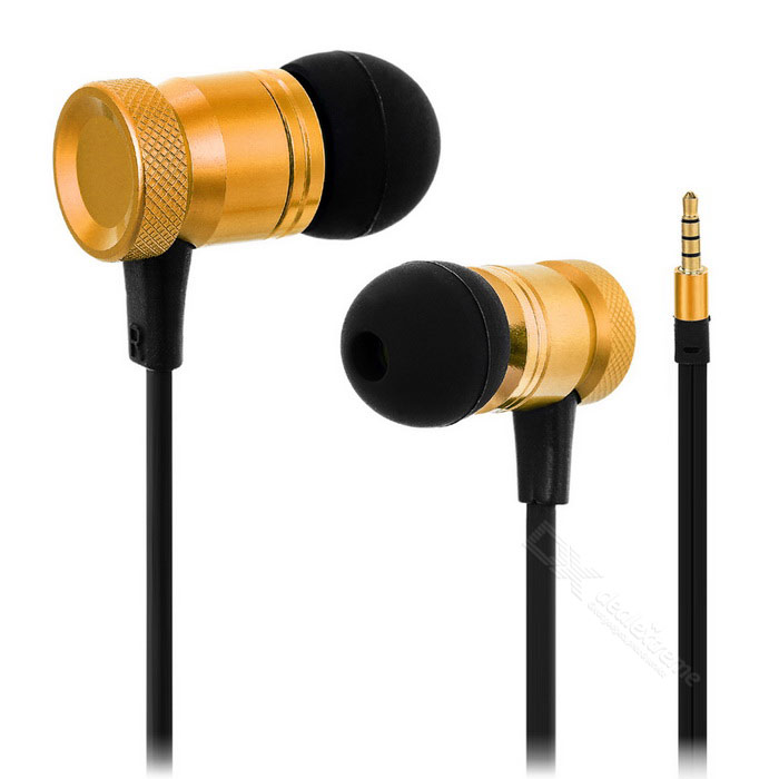 3.5mm In-Ear Earphones Headphones w/ Mic. & Remote - Golden + Black