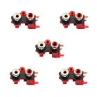 Jtron RCA-214 2-Female Jack RCA Socket Connectors - Red (5 PCS)