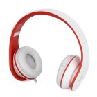 SOUND INTONE I60 Foldable 3.5mm Wired Headband Headphone w/ Mic - White + Red