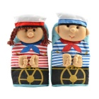 Cute Navy Boy and Girl Microwave Heat Insulation Cotton Glove - Blue + Red (Pair)