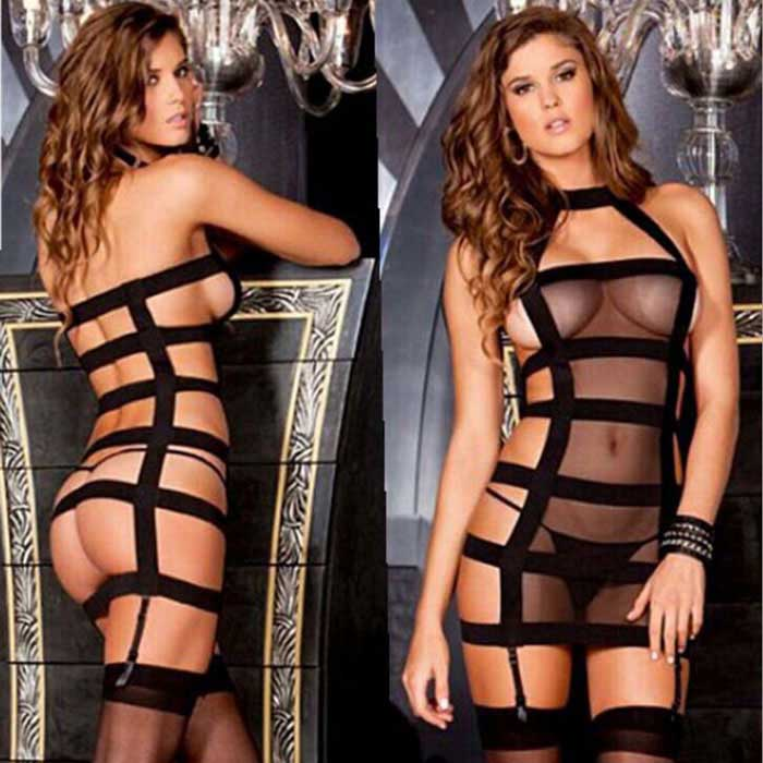 Halter Bundle Temptation Sexy Lingerie - Black