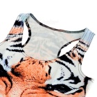 Women's Tiger Pattern Nylon + Spandex Vest Top - White + Black