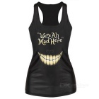 Women's Toothy Smile Pattern Slim Nylon + Spandex Vest Top - Black
