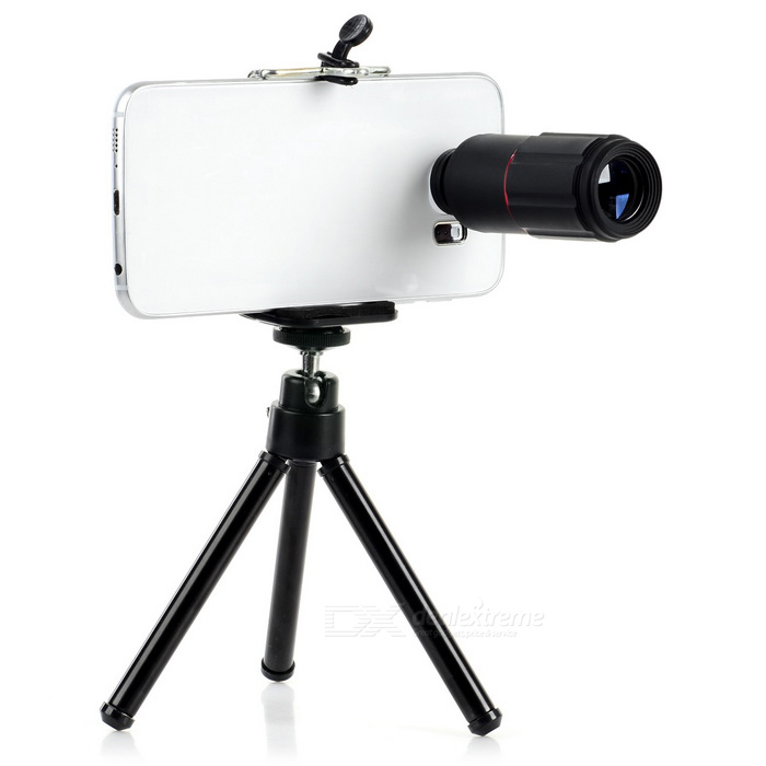 Universal Tripod w/ Holder + 8X Telescope Lens for Cellphone - BlackLens &amp; Microscopes<br>Form  ColorBlackQuantity1 DX.PCM.Model.AttributeModel.UnitMaterialPlastic + aluminum alloyShade Of ColorBlackCompatible ModelsUniversalLens EffectsTelescopeMagnification8XOther FeaturesThe max height of Tripod: 12~18cm;<br>Cellphone holder width: 5.5~8.5cm.Packing List1 x Lens1 x Tripod1 x Cellphone holder1 x Clip2 x Lens covers1 x Cleaning cloth<br>