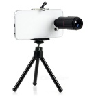 Universal Tripod w/ Cellphone Holder + 8X Telescope Lens for Cellphone - Black